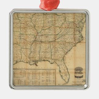 El mapa histórico de la guerra civil (1862) adorno navideño cuadrado de metal
