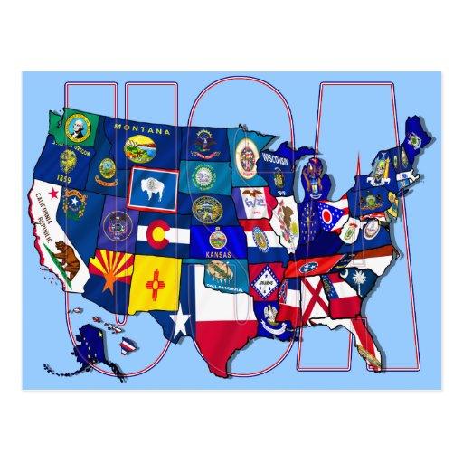 El mapa los E.E.U.U. Estados Unidos de las bandera Tarjeta Postal