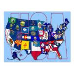 El mapa los E.E.U.U. Estados Unidos de las Postal