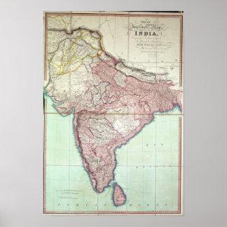 El mapa mejorado de la India publicó en Londres 18 Póster