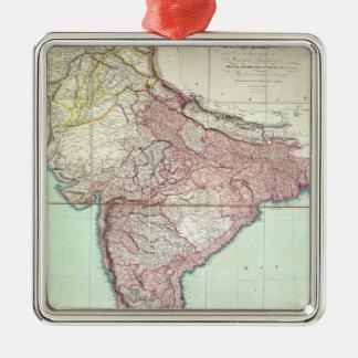 El mapa mejorado de la India publicó en Londres Adorno Cuadrado Plateado