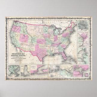 El mapa militar de Johnson de los Estados Unidos Impresiones