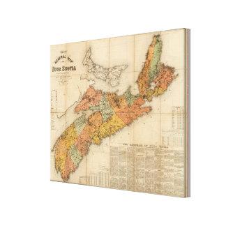 El mapa mineral de la iglesia de Nueva Escocia Impresión En Lienzo