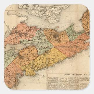 El mapa mineral de la iglesia de Nueva Escocia Pegatina Cuadrada