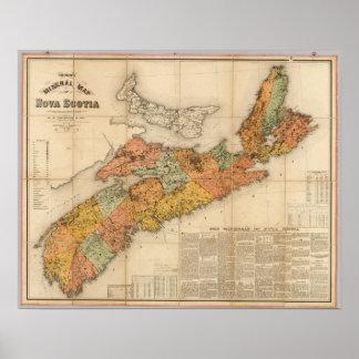 El mapa mineral de la iglesia de Nueva Escocia Póster