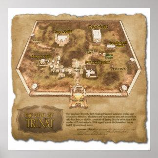El mapa oficial de la ciudad de Trinst Póster