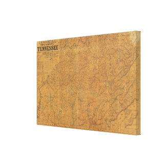 El mapa oficial de Lloyd del estado de Tennessee Impresiones De Lienzo