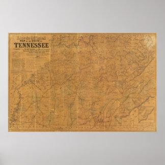El mapa oficial de Lloyd del estado de Tennessee Posters