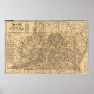 El mapa oficial de Lloyd del estado de Virginia Posters