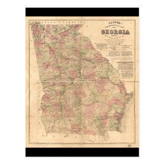 El mapa topográfico de Lloyd de Georgia (1864) Postal