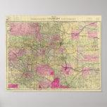 El mapa topográfico de Nell de Colorado Póster