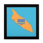 El mapa y la bandera de Aruba Cajas De Joyas