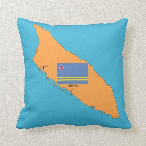 El mapa y la bandera de Aruba Cojin