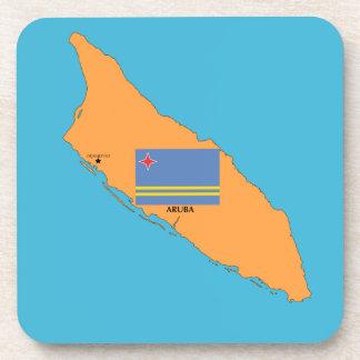 El mapa y la bandera de Aruba Posavasos