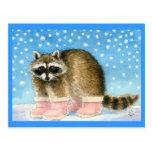 El mapache en rosa patea la postal
