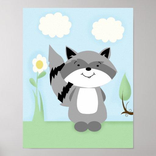 El mapache encantó la impresión del arte del cuart posters