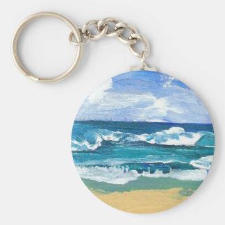 El mar agita en el juego - arte del océano de Cric Llavero Redondo Tipo Pin