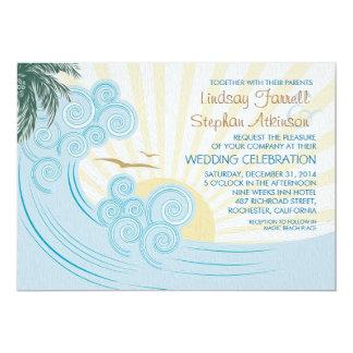 El mar agita invitaciones del boda de playa comunicado