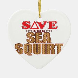 El mar arroja a chorros reserva adorno navideño de cerámica en forma de corazón