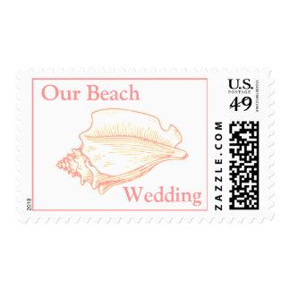 El mar bonito Shell vara el sello del boda del tem