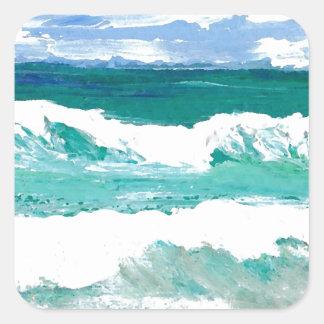 El mar de baile del océano de las ondas agita los pegatina cuadrada