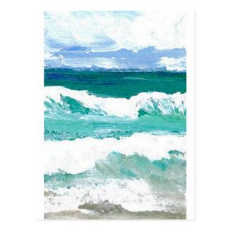 El mar de baile del océano de las ondas agita los postal