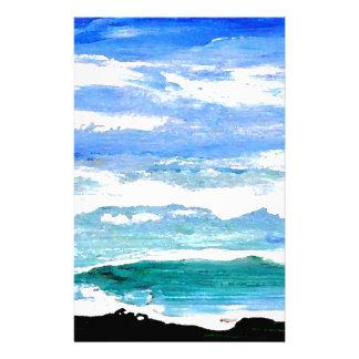 El mar de la serenidad del océano agita los papeleria de diseño