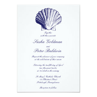 El mar de los azules marinos descasca la invitación 12,7 x 17,8 cm