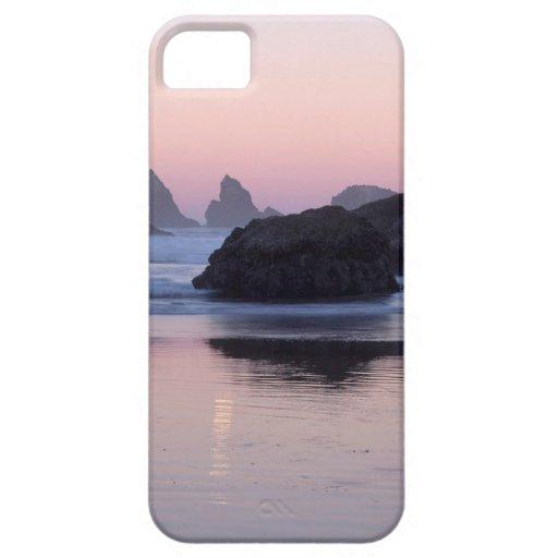 El mar de los gatitos de Moonset de la playa apila iPhone 5 Fundas
