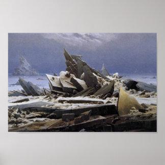 El mar del hielo de Caspar David Friedrich Poster