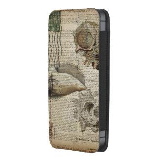 el mar del vintage descasca arte elegante de la funda acolchada para iPhone