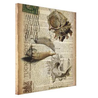 el mar del vintage descasca arte elegante de la impresiones en lienzo estiradas