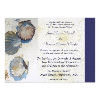 El mar descasca la invitación del boda