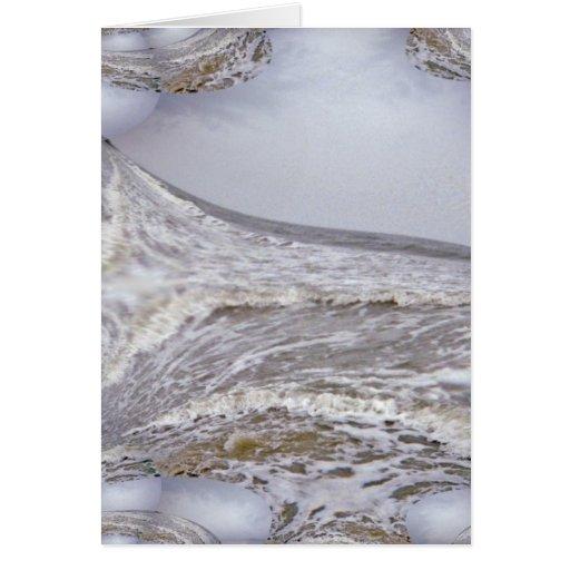 El mar enojado agita fractal tarjeta de felicitación