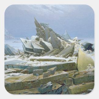 El mar polar, 1824 calcomania cuadrada personalizada