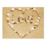 El mar Shell ama el corazón Tarjetas Postales