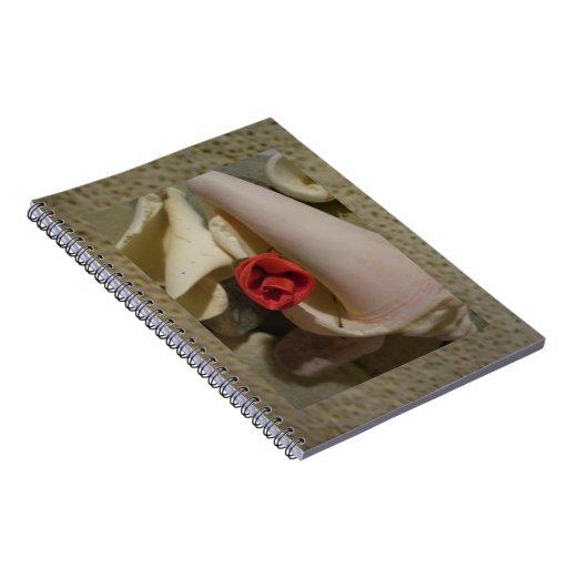 El mar Shell del rosa rojo empiedra el diario del  Libros De Apuntes