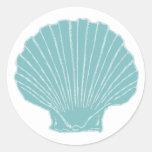 El mar Shell que casa el sobre sella Etiquetas Redondas