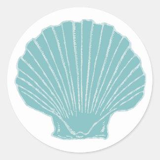 El mar Shell que casa el sobre sella Pegatina Redonda