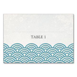 El mar verde azul agita la tarjeta de presentación