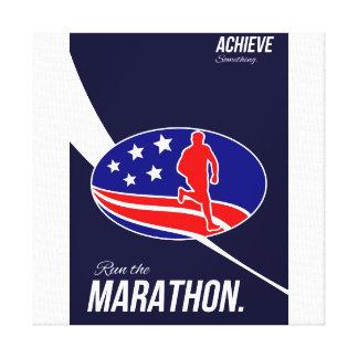 El maratón americano alcanza algo poster impresión en lona estirada