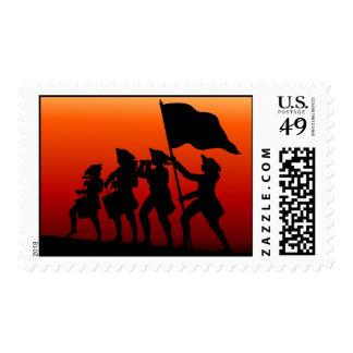 El marchar con los tambores y fife y bandera sellos postales