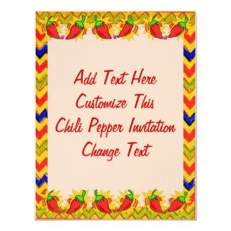 El marco 2 de la pimienta de chile, añade el texto invitación 10,8 x 13,9 cm