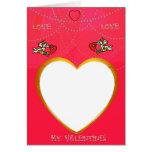 El marco del Cupid y del corazón añade su tarjeta