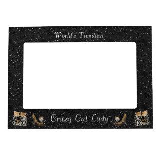 El marco loco más de moda de la señora del gato de marcos magneticos para fotos