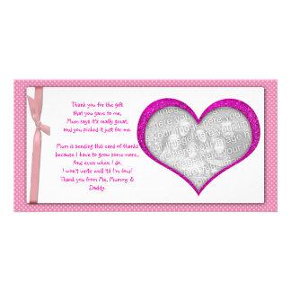 El marco rosado del corazón le agradece tarjeta de tarjetas personales con fotos