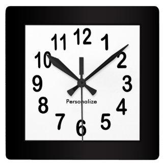 El marco y los números negros el   eligen color de reloj cuadrado