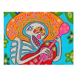 El Mariachi Serenade - el día del esqueleto muerto Tarjetas Postales