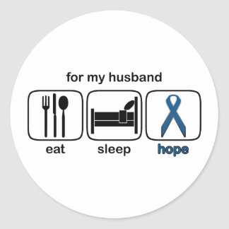 El marido come la esperanza del sueño - cáncer de pegatina redonda