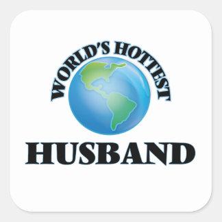 El marido más caliente del mundo pegatina cuadrada